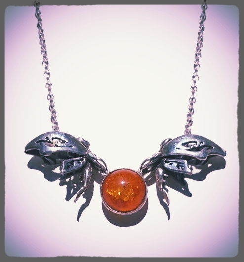 bespoke jewellery design fairy and amber necklace
