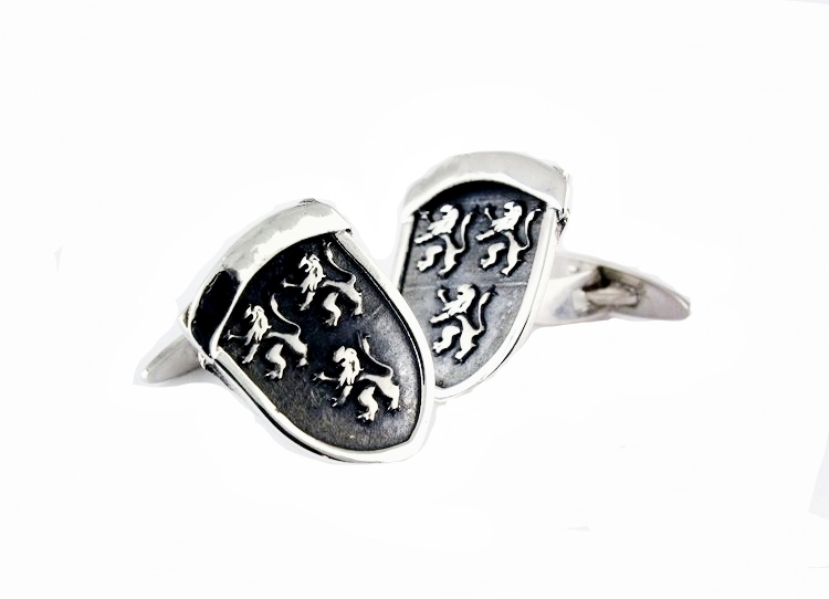 bespoke jewellery design cuff links in silver clan sheild