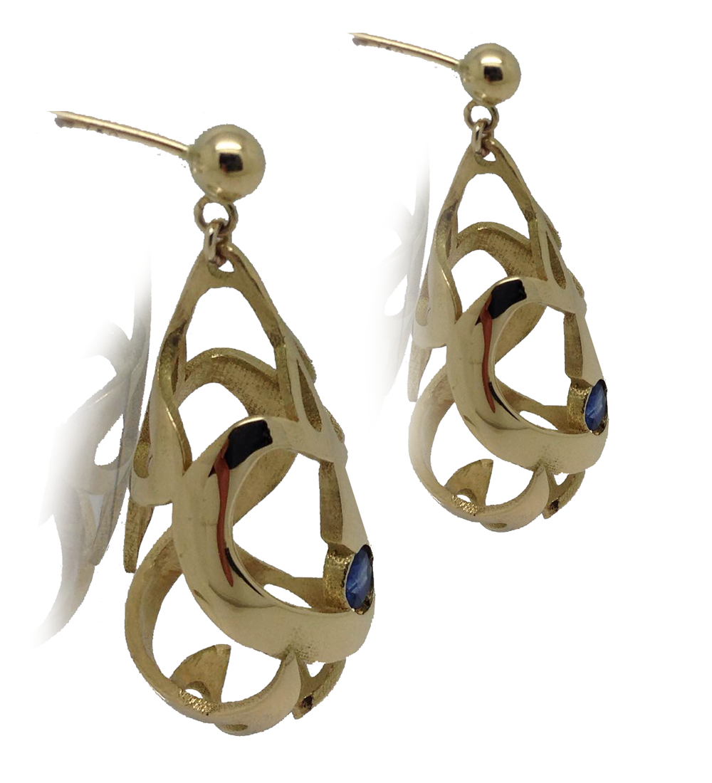 bespoke jewellery design gold earring with sapphires