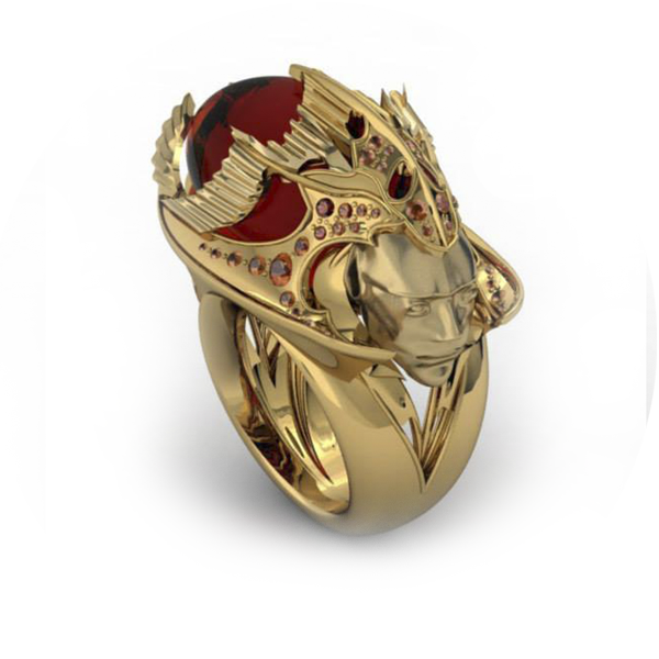 giant dress ring gold red face